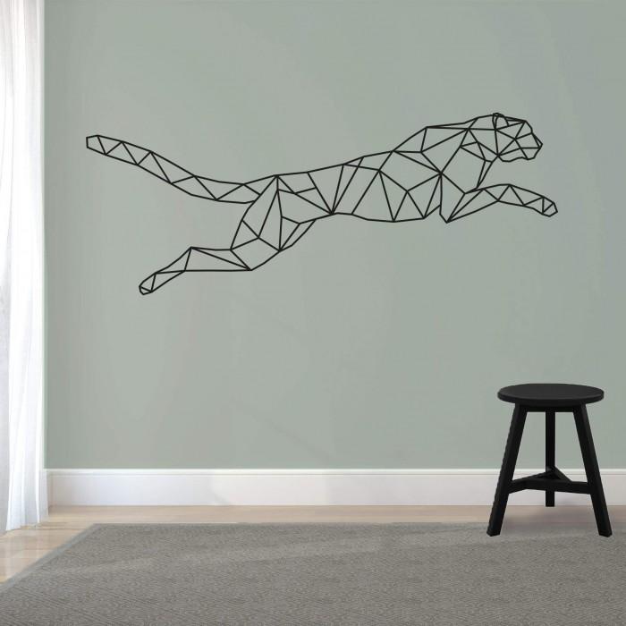 muursticker van een springend jachtluipaard