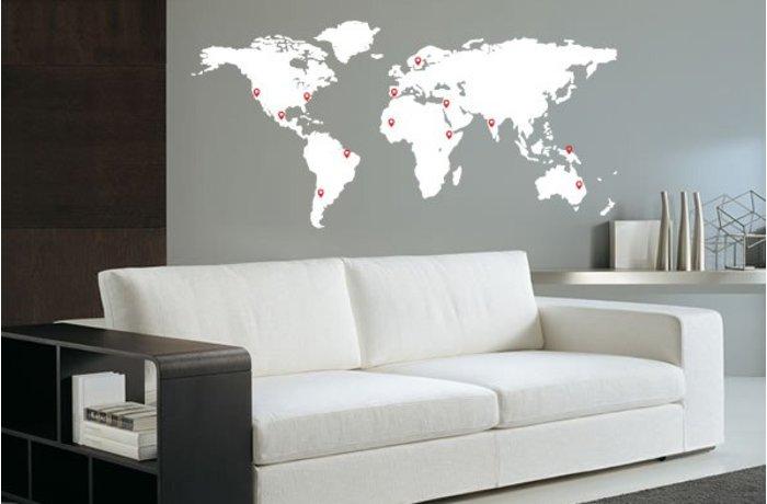 muursticker van een wereldkaart